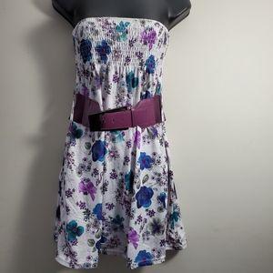 Strapless Floral Summer Dress with belt.